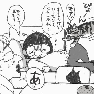 わたしはソファーに横になって夫に「すまんけどハラ撫でてくれんかね…おへそのまわり…」力なく頼む 横からぴょーんと嬉しそうに「キャッ」と鳴きながら飛んでくる猫のグリコ それをみて「あっ」と声をあげる夫 こたつの上にはみかんが乗っている